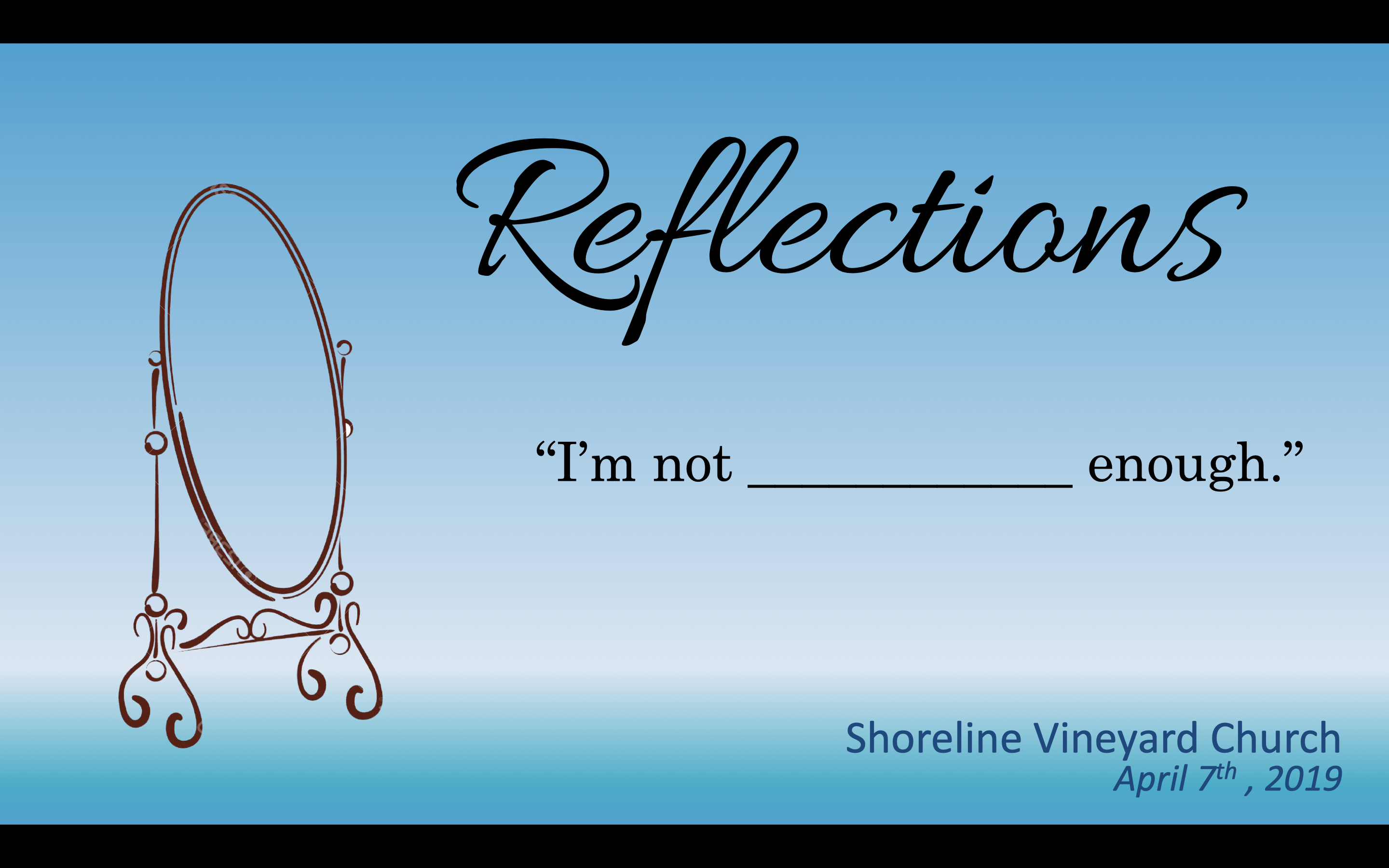 Reflections – I'm not Disciplined Enough